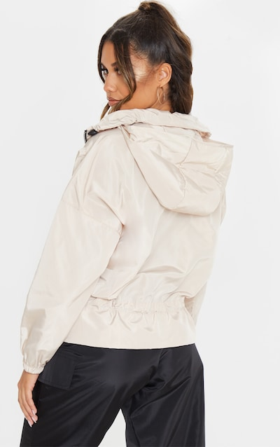 Stone Zip Front Ruched Detail Windbreaker