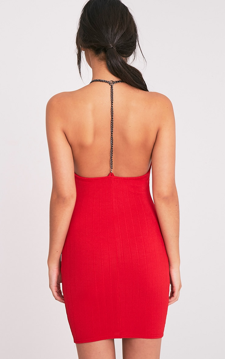 Amarnia Red Chain Back Betail Bodycon Dress 2