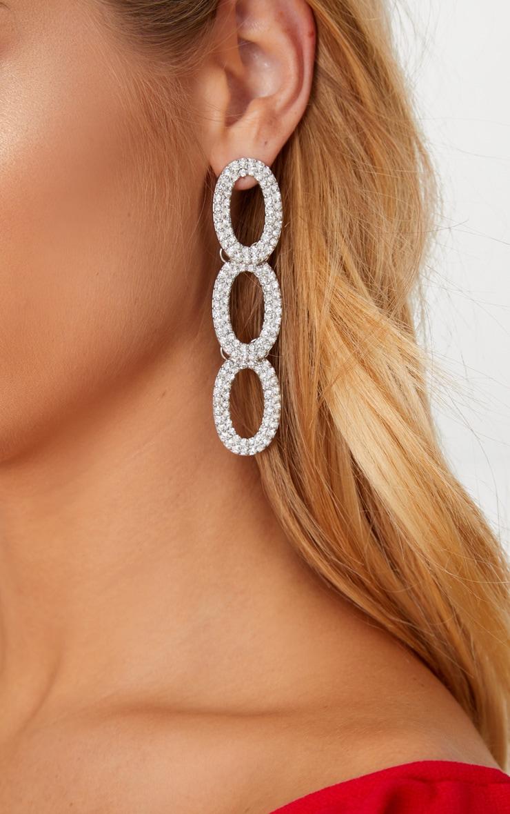 7bc8f42c4 Silver Diamante Loop Drop Earrings | PrettyLittleThing