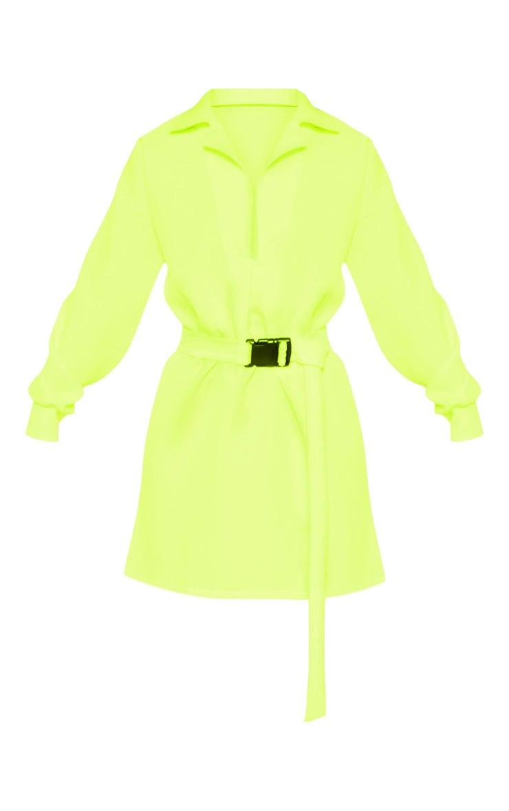 Petite - Robe chemise cargo vert citron fluo à ceinture 3