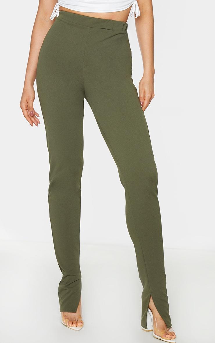 Tall Khaki Back Seam Split Hem Crepe Trouser 2