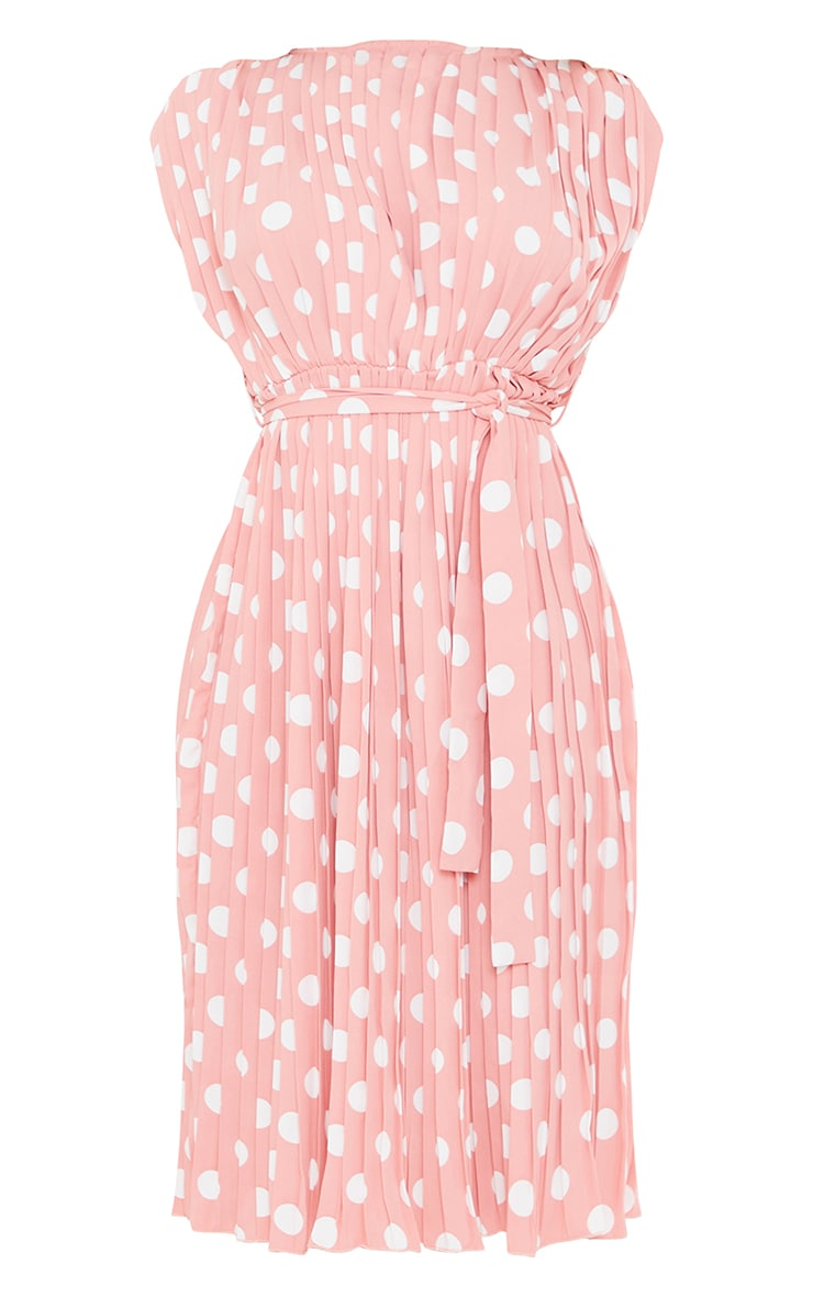 Dusty Pink Polka Dot Pleated Sleeveless Midi Dress 5