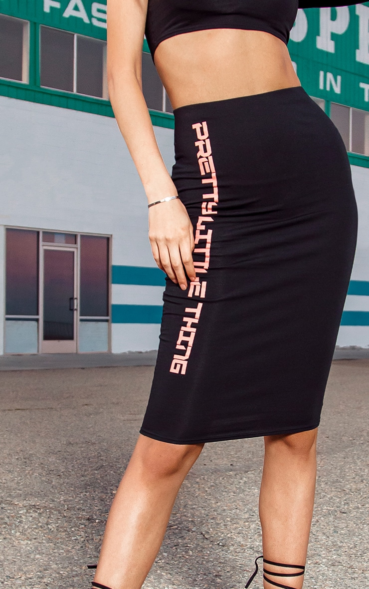 PRETTYLITTLETHING Tall Black Midi Skirt 4