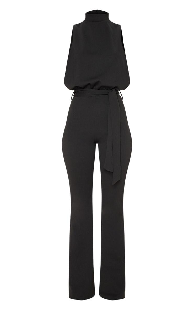 Black Scuba High Neck Tie Waist Jumpsuit 3