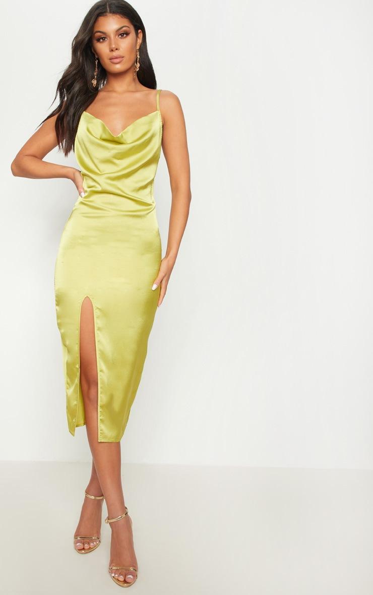 Dark Lime Strappy Satin Cowl Midi Dress 2