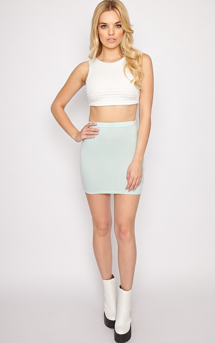 Halle White Textured Polka Dot Crop Top 3