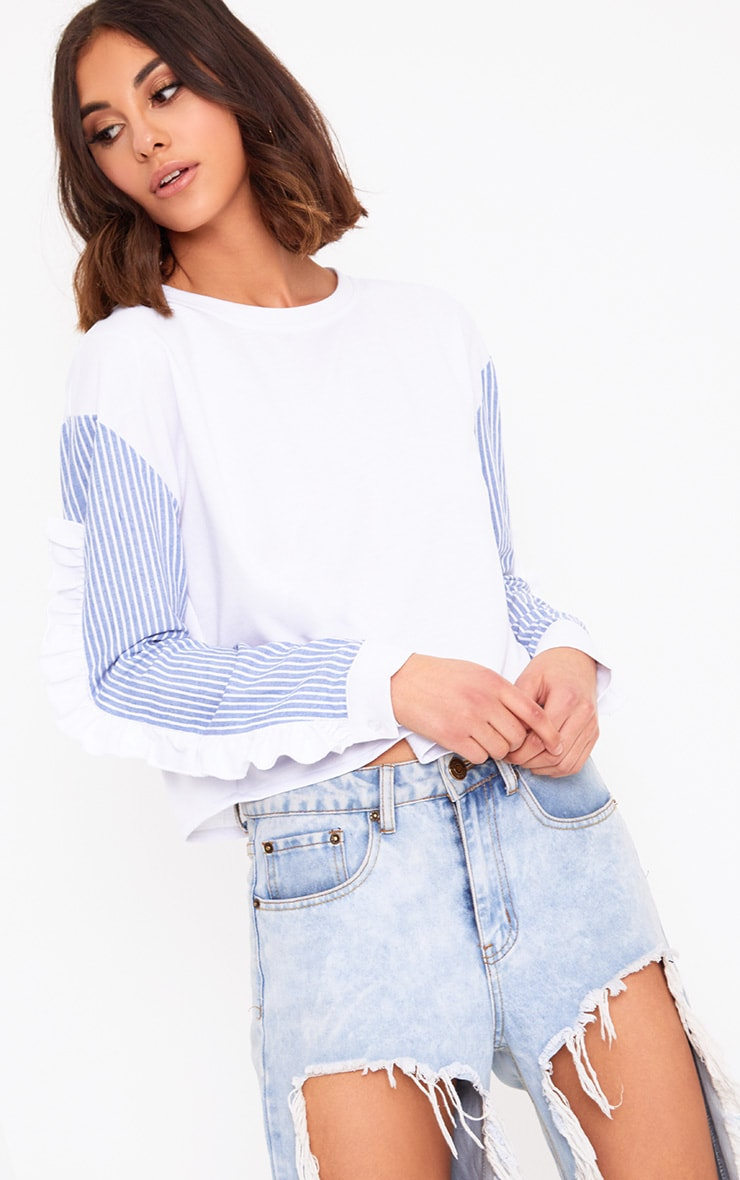 White Stripe Sleeve Frill Detail Sweater 1