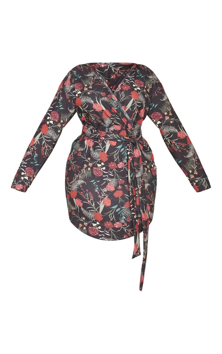 Plus Black Floral Print Wrap Detail Shift Dress 3