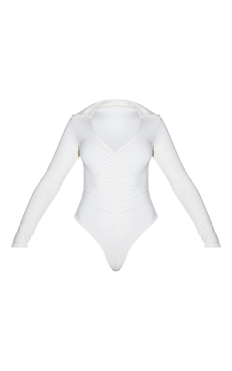 Recycled Cream Contour Jersey Ruched Front Long Sleeve Bodysuit 5