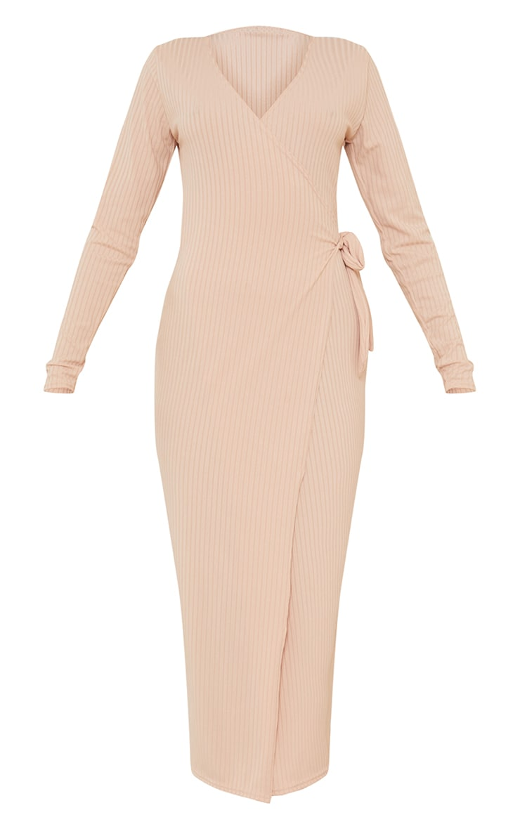 Stone Ribbed Wrap Tie Detail Long Sleeve Midaxi Dress 5