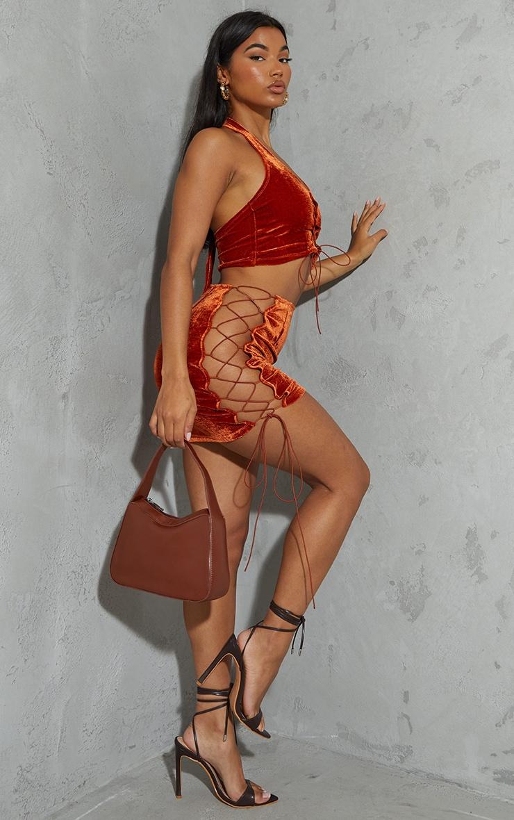Burnt Orange Velvet Lace Up Side Mini Skirt 1