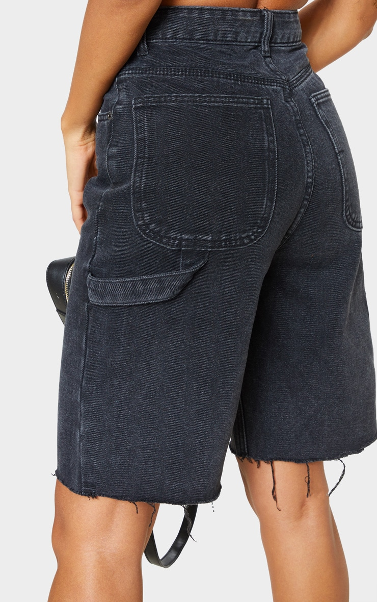 Washed Black Mom Cargo Detail Denim Shorts 6
