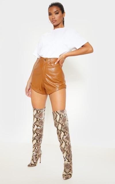 Chesnut Faux Leather Turn Up Hem Short