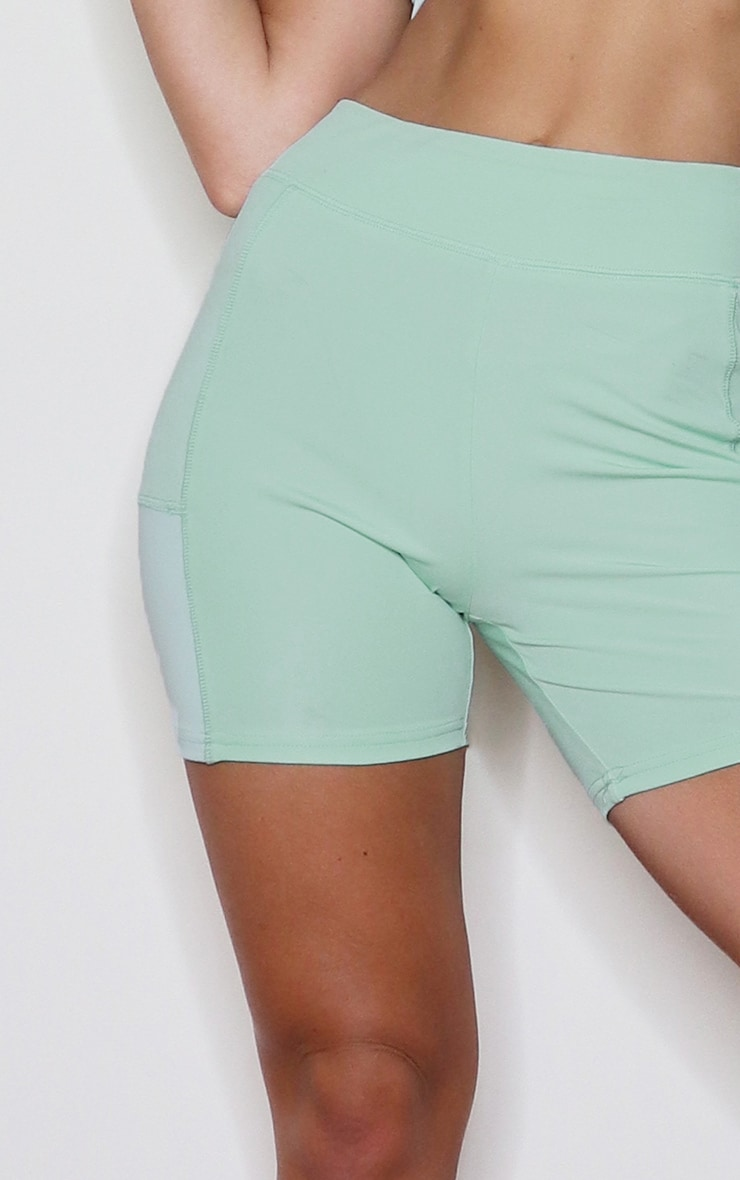 Sage Green Colour Block Gym Booty Shorts 5