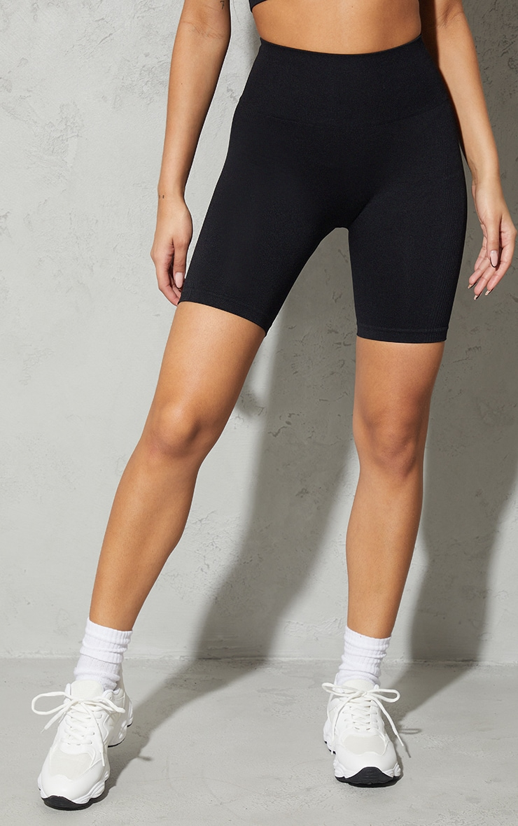 Black Seamless Ruched Bum Cycle Shorts 2