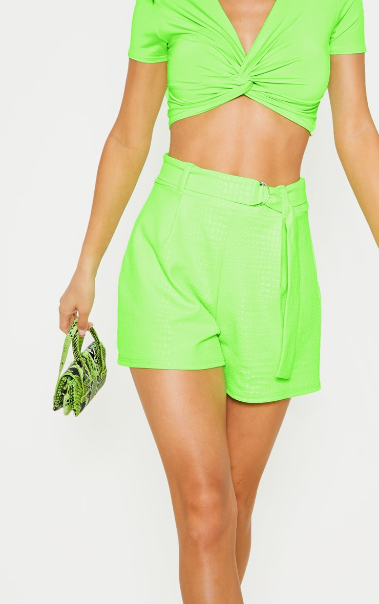 Neon Green Croc Print D Ring Belted Short 6