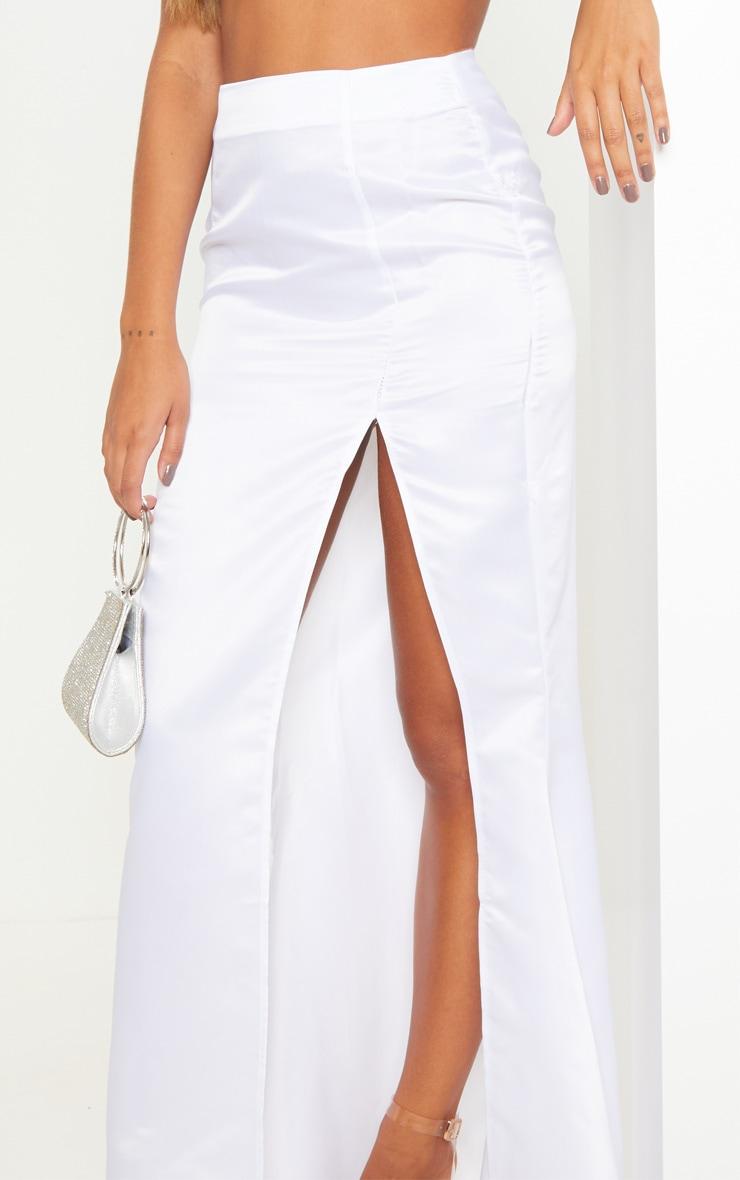 White Woven Split Front Maxi Skirt 5