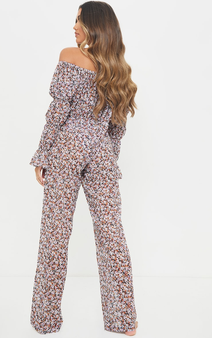 Multi Ditsy Floral Flare Sleeve Wide Leg Beach Jumpsuit 2