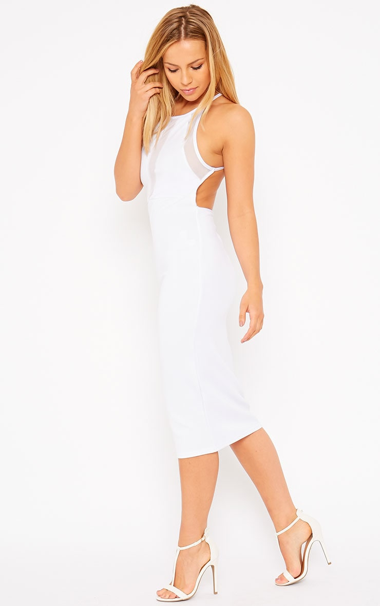 Naveen White Mesh Front Midi Dress 3