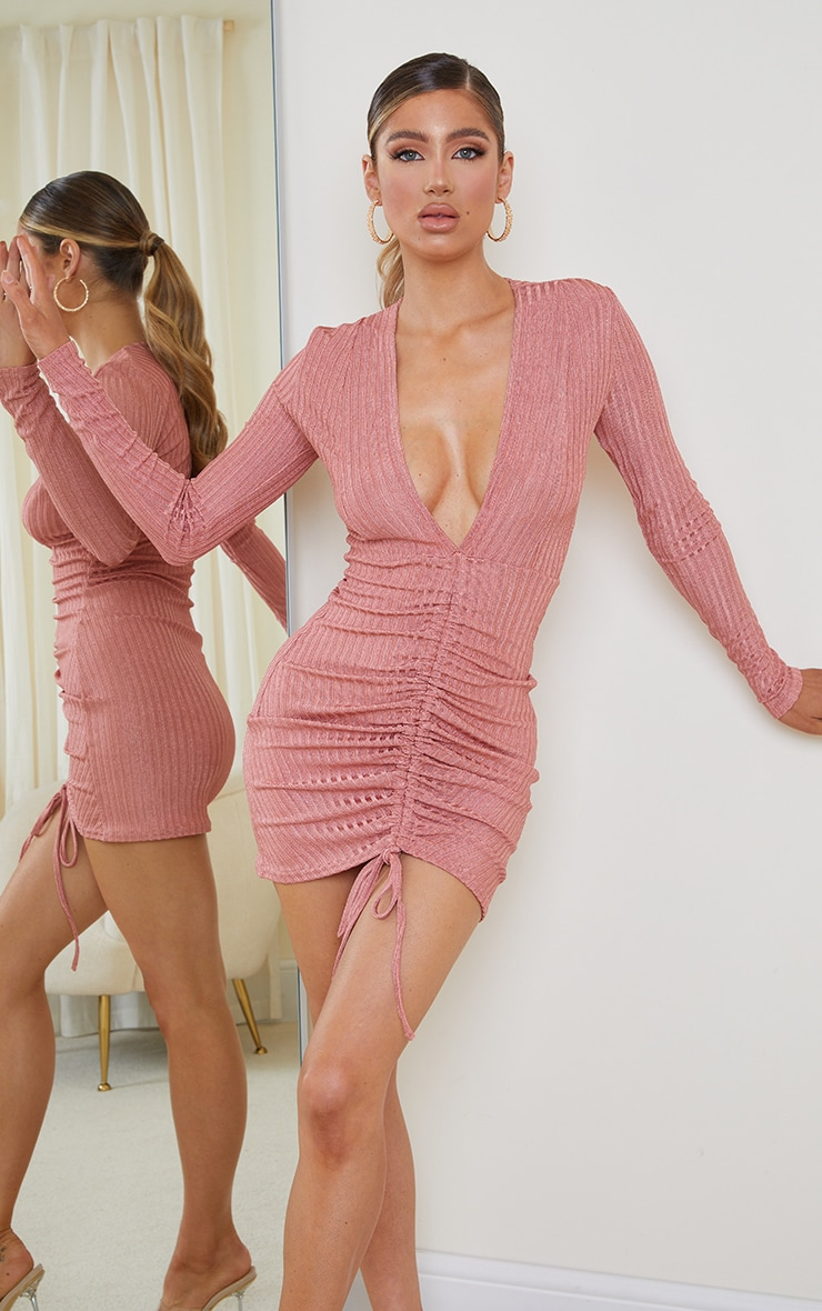 Pink Glitter Rib Long Sleeve Plunge Ruched Bodycon Dress 1