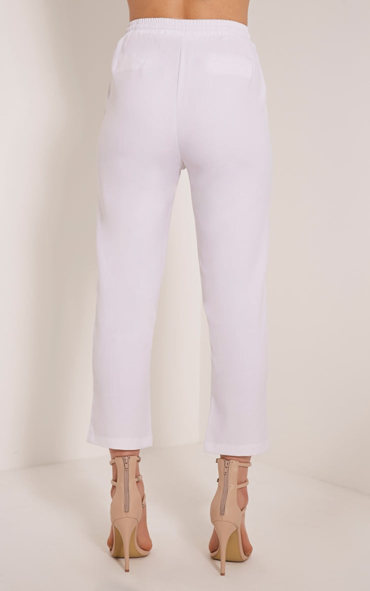 Diya White Cropped Trousers 5