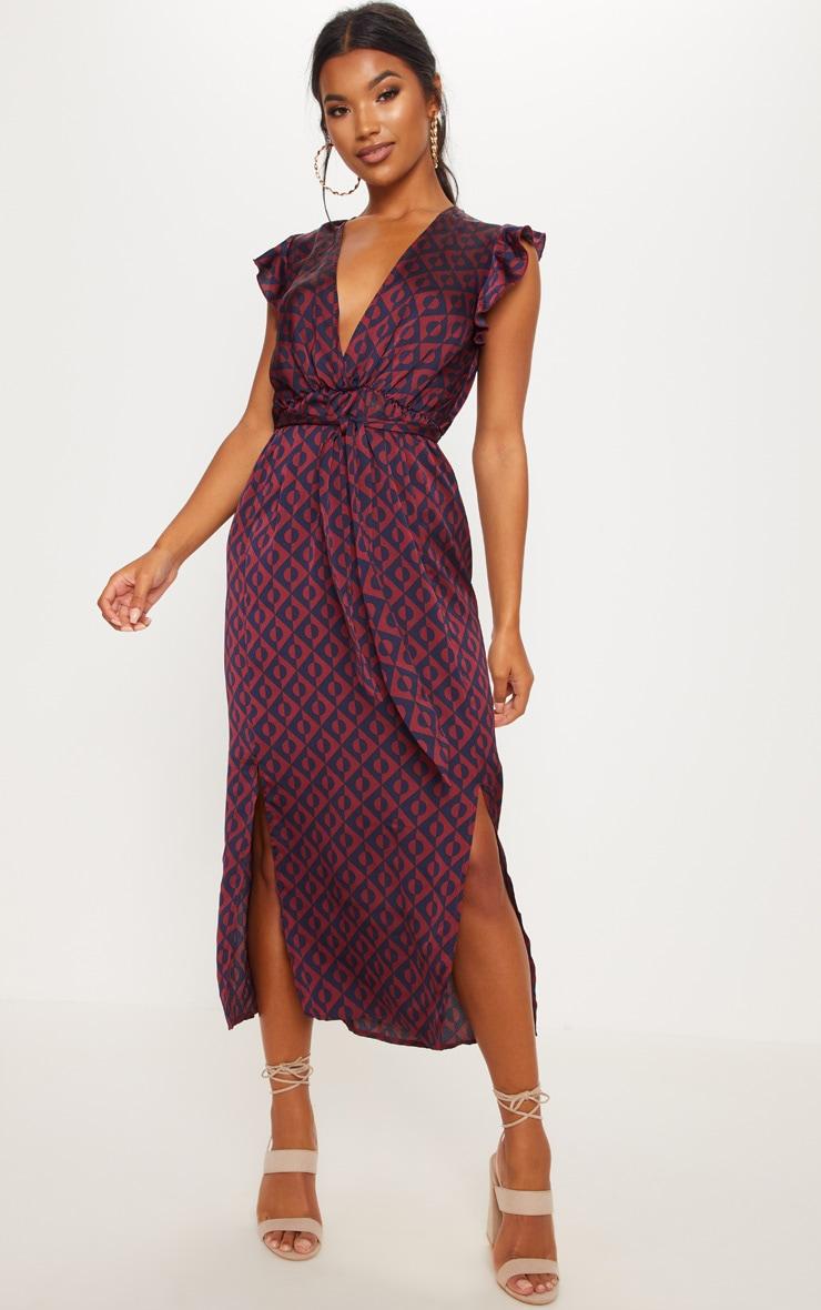 Navy Geo Print Satin Frill Shoulder Split Midi Dress image 1