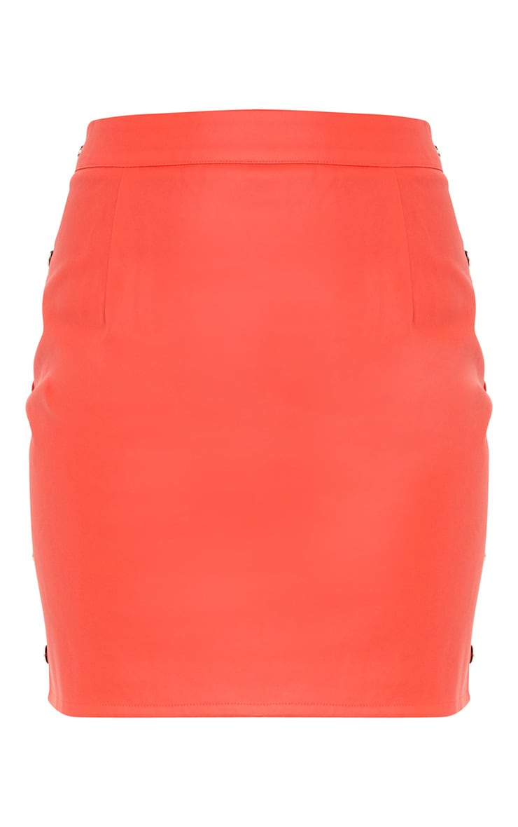 Red Button Side Faux Leather Mini Skirt 3