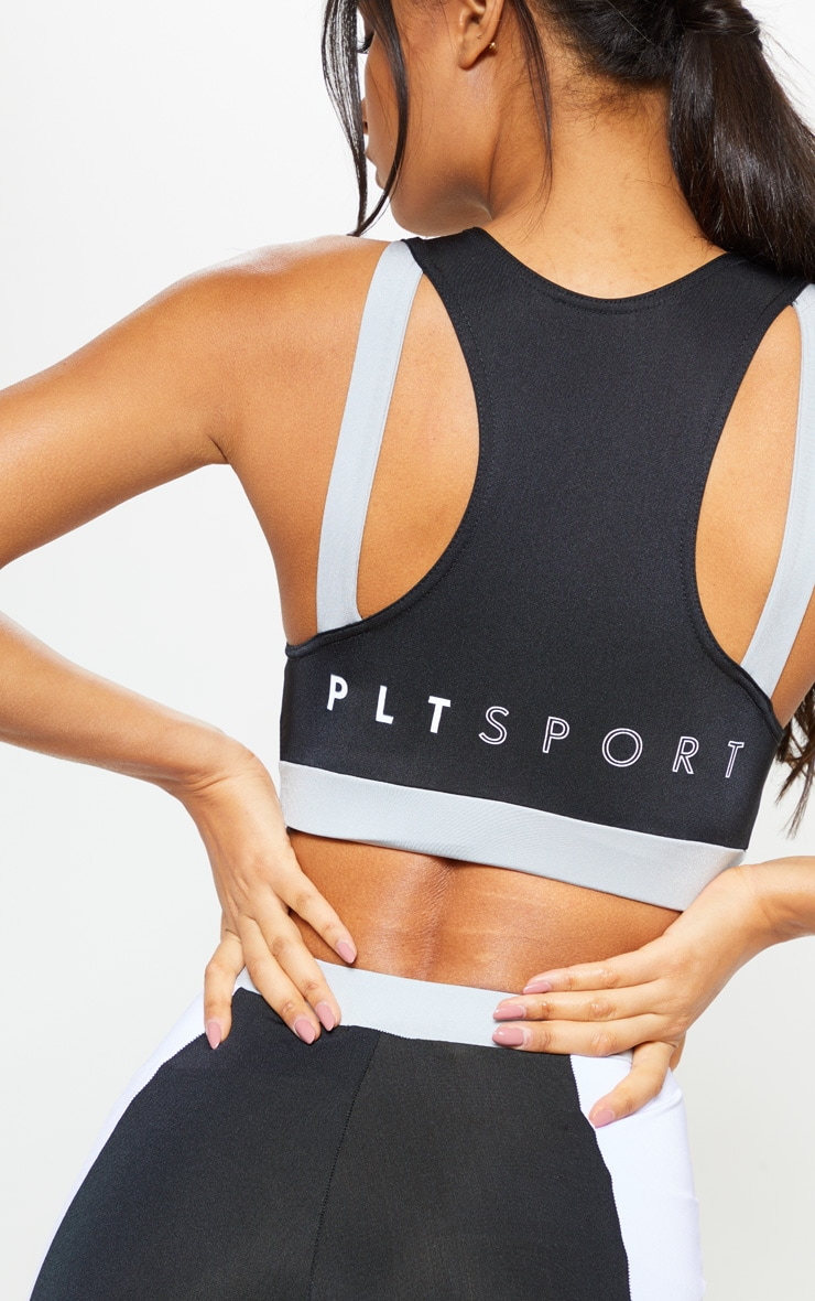 PRETTYLITTLETHING Black Double Strap Back Crop Top 4