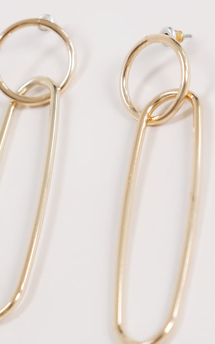 Gold Hoop Long Drop Earrings 3