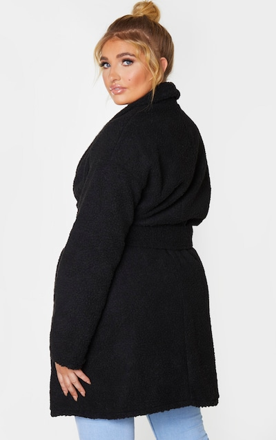 Plus Black Borg Belted Oversized Coat