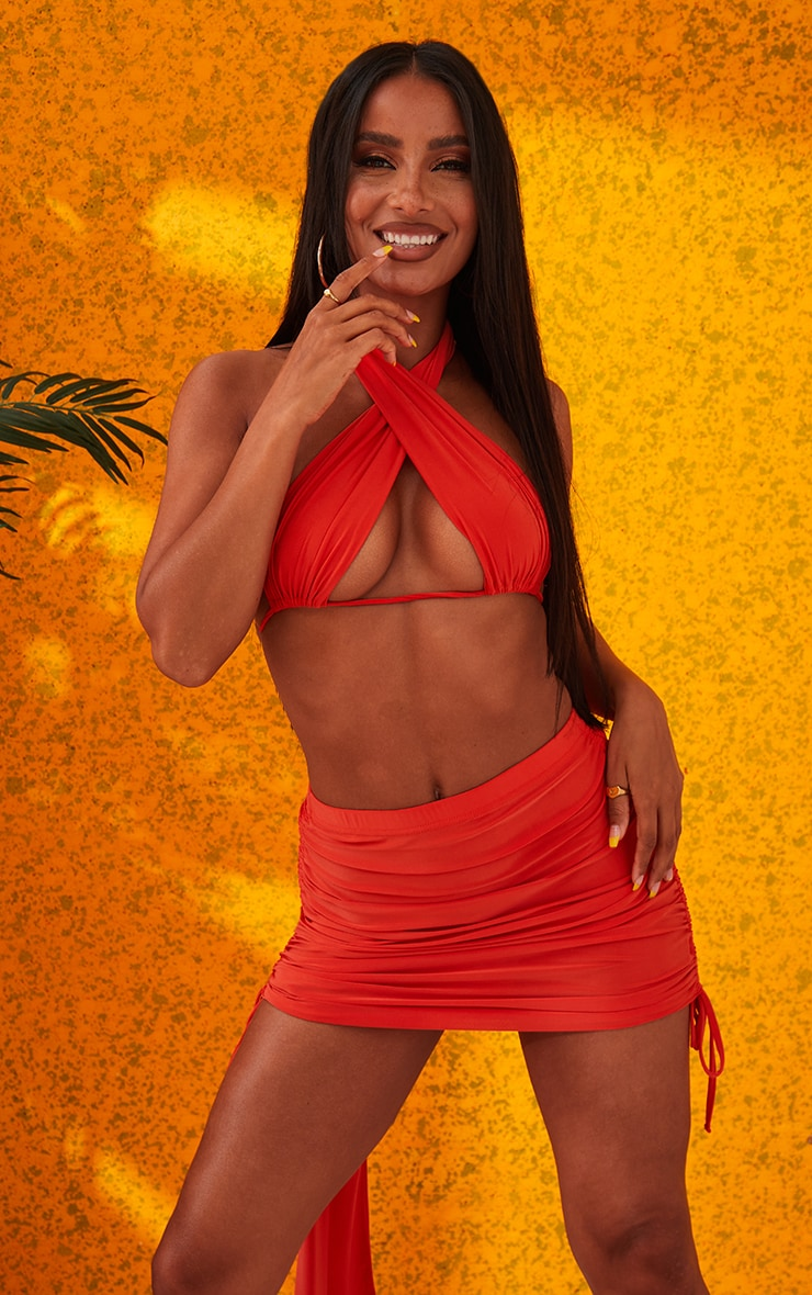 Orange Ruched Mini Skirt 5