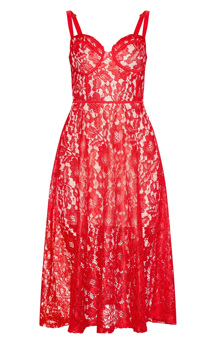 Red Lace Cup Detail Midi Dress 4