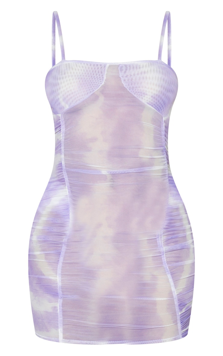 Lilac Tie Dye Sheer Mesh Strappy Ruched Bodycon Dress 5