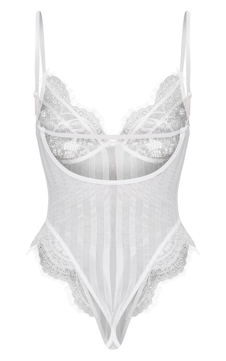 White Striped Lace Bodysuit 8