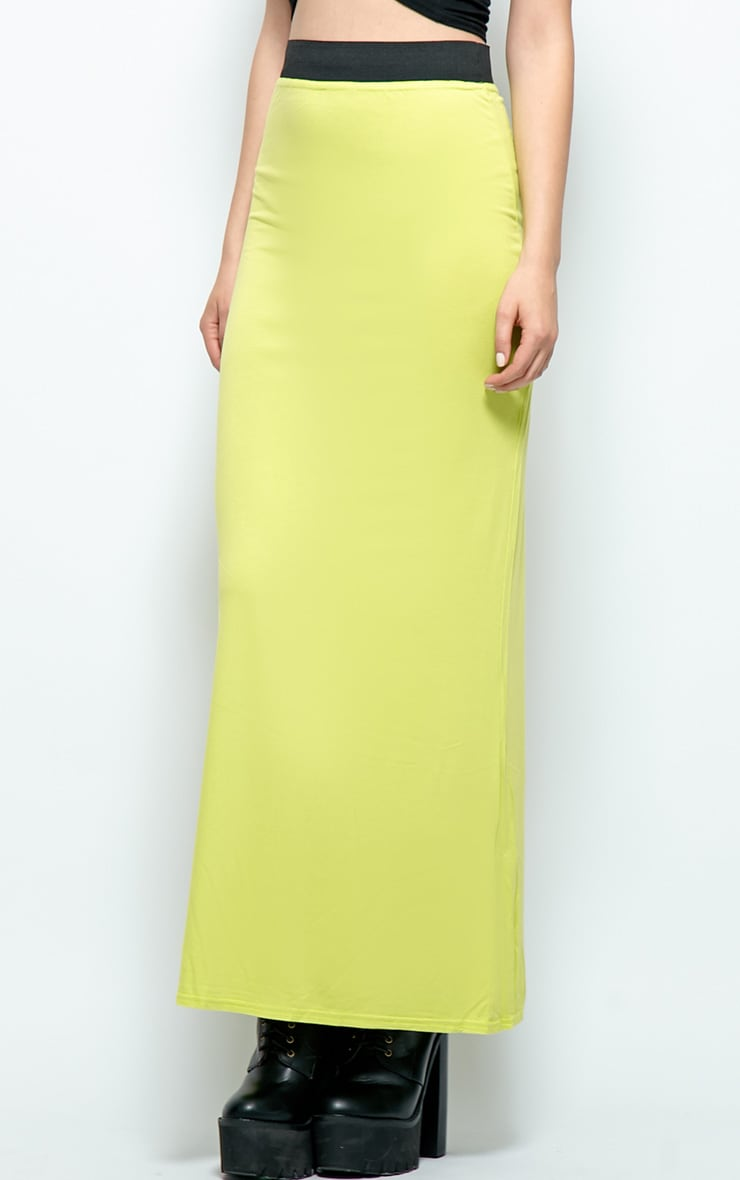 Kelsey Lime Jersey Maxi Skirt  4