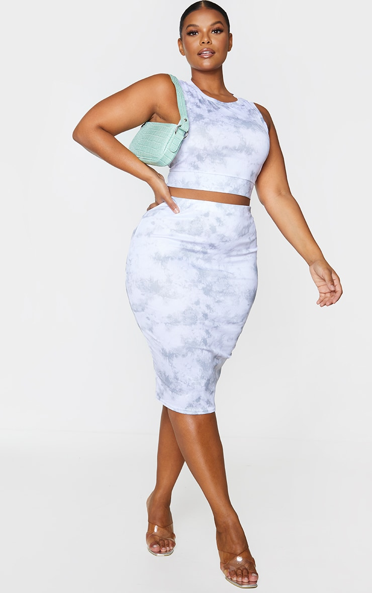 Plus Grey Tie Dye Rib Midi Skirt 1
