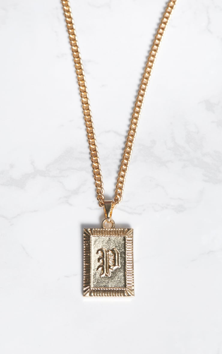 Gold Square Letter P Pendant Necklace 3