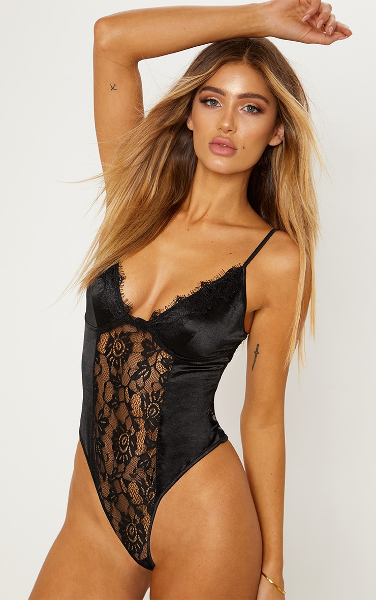 Black Satin Lace Insert Body 1