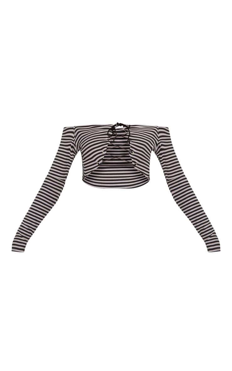 Grey Stripe Lace Up Front Underbust Crop Top 3