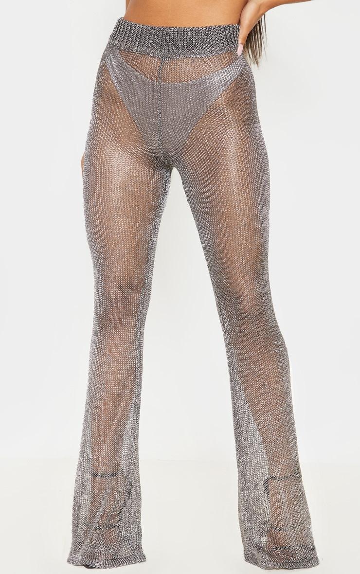 Pewter Metallic Wide Leg Flares 3