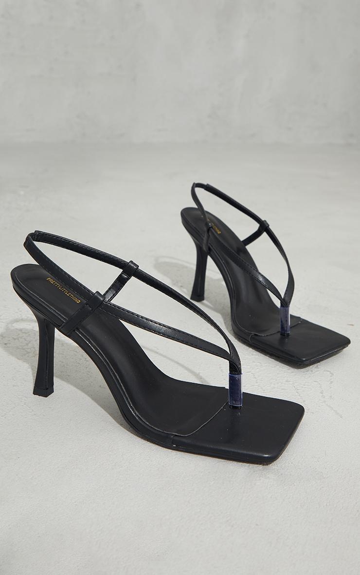 Black Pu Square Toe Thong Sling Back Heels 3