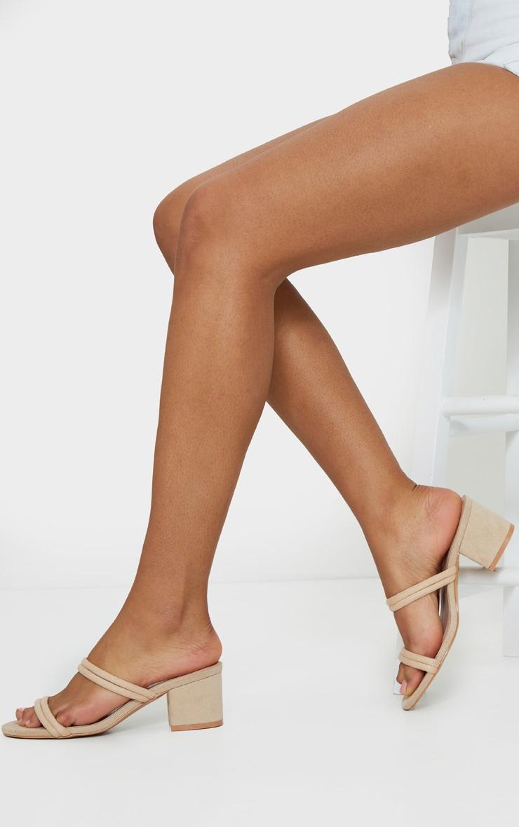 Nude Tube Strap Low Block Heel Mules 2