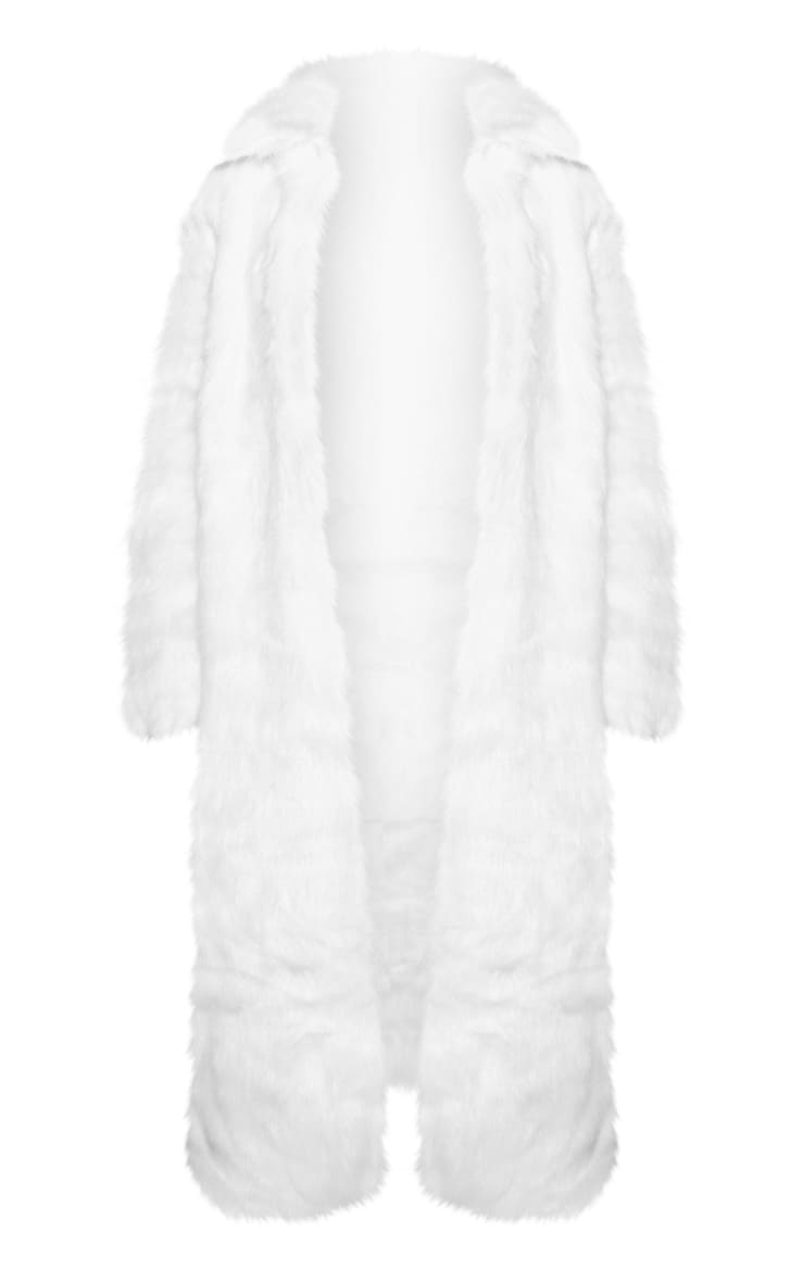 Cream Maxi Faux Fur Coat 3