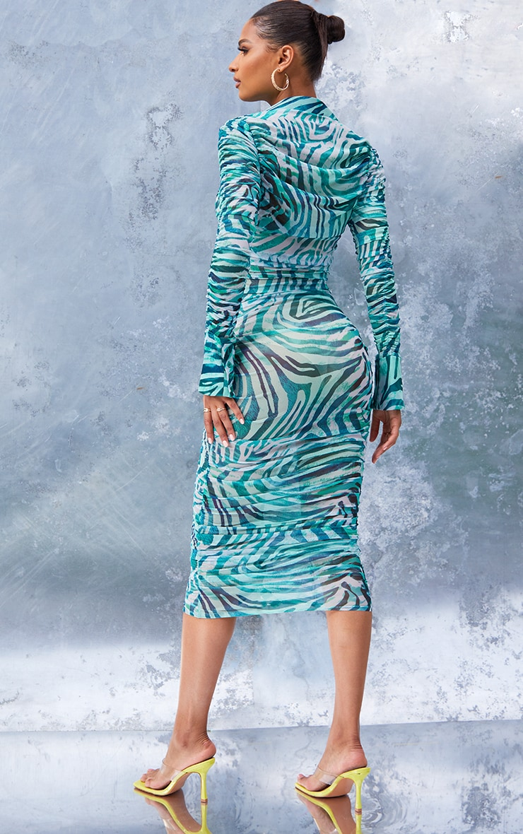 Green  Zebra Print Mesh Ruched Long Sleeve Midi Shirt Dress 2
