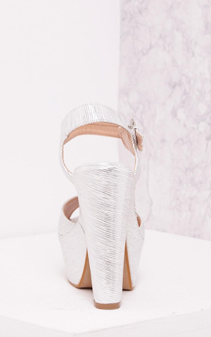 Edlyn Silver Metallic Chunky Heels 4