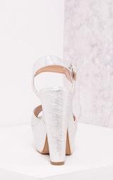 246a1aa91c72 Edlyn Silver Metallic Chunky Heels - High Heels - PrettylittleThing ...