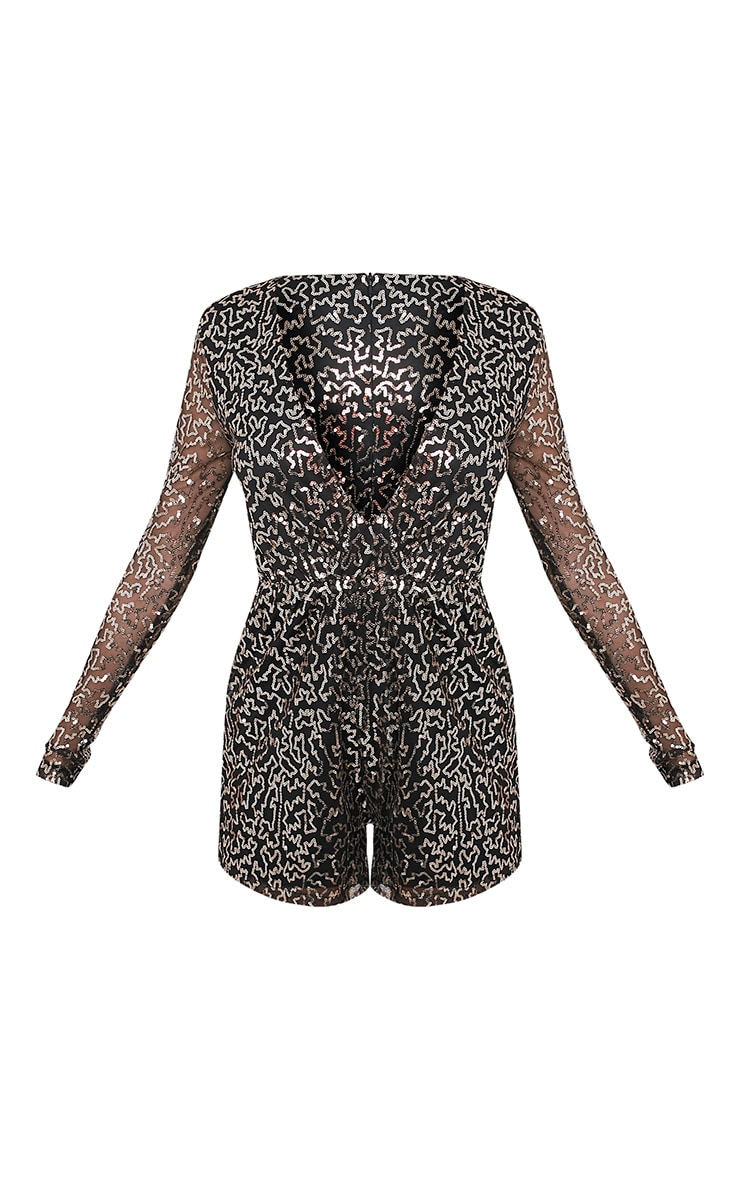 Keaely Gold Zig Zag Sequin Plunge Playsuit 4