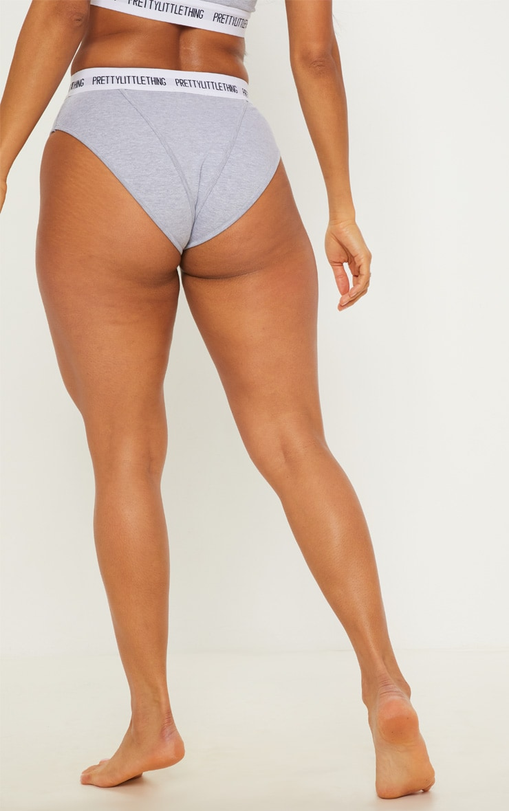 PRETTYLITTLETHING Light Grey Binding Detail Panties 4
