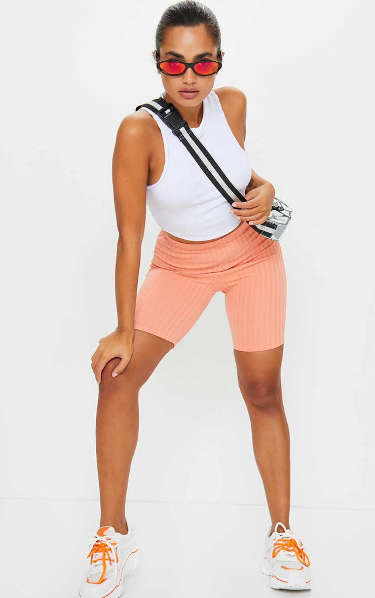 Petite Peach Crinkle Cycle Shorts 4