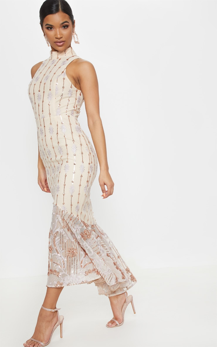 Rose Gold Sequin High Neck Fishtail Midaxi Dress 5